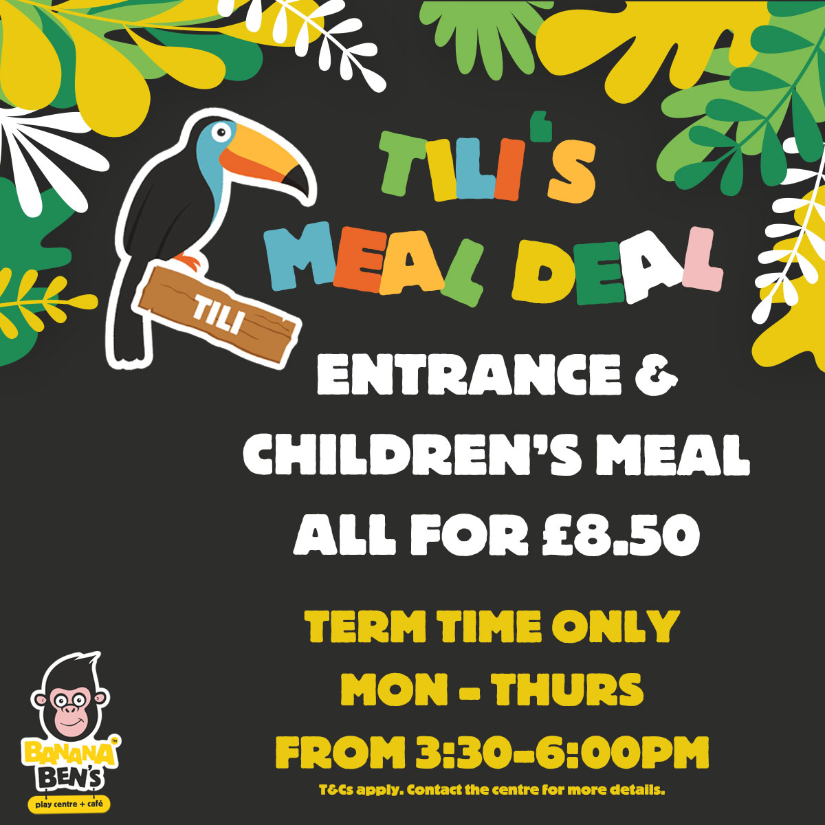 Tili's Meal Deal - Entrance, Hot Meal & a Drink all for £7.95. Monday - Thursday from 3PM. T&Cs apply. Contact the centre for more details.